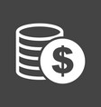 money icon on grey background coins in flat style vector image vector image