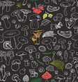 Mushroom hand drawn sketch Seamless Pattern vector image vector image