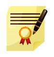 parchment diploma graduation with pen vector image vector image