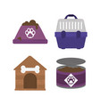 pet bowl food canned cage and house icons vector image vector image