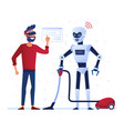 robot housekeeper runs the vacuum cleaner vector image