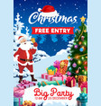 santa xmas gifts and bell christmas party flyer vector image vector image