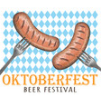 sausages on the fork sausages octoberfest vector image