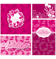 Set of Greeting Cards with Orchid Flowers and hand vector image