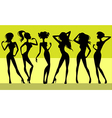 six girls silhouettes vector image vector image
