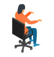 woman at office chair icon isometric style vector image vector image