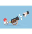 Businessman shot out from cannon vector image