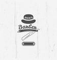 barber shop straight razor vintage emblem vector image vector image
