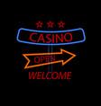 billboard casino with arrows on a black vector image vector image