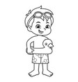 boy ready to swim with duck float bw vector image vector image