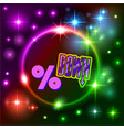 bright neon background with space stars and text vector image vector image