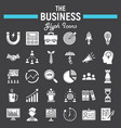 business solid icon set finance signs collection vector image