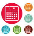 calendar plan icons circle set vector image vector image