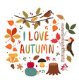 card with autumn colorful elements vector image vector image