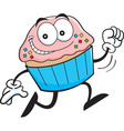 Cartoon cupcake running vector image vector image