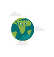 cartoon flat globe happy character vector image vector image