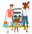 cartoon gay-married couple doing shopping vector image