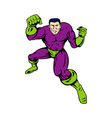 cartoon super hero running punching vector image vector image