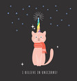 cat with horn of unicorn vector image vector image