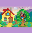 children playing near house theme 2 vector image vector image