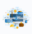 cryptocurrency mining abstract flat style vector image vector image