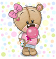 cute cartoon teddy bear girl with bubble gum vector image vector image