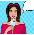 Cute pop art woman with an ice cream vector image vector image