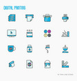 digital printing thin line icons set vector image vector image