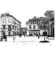 digital sketch black and white of Uzhgorod vector image vector image