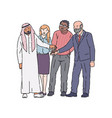 diverse group people joining hands together in vector image