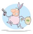 Easter bunny bandit cartoon vector image vector image