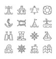 editable stroke marine nautical line icon set vector image vector image
