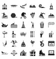 exhibition icons set simple style vector image vector image