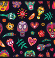 festive seamless pattern with decorative skulls vector image