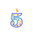 five years anniversary 5 number shaped birthday vector image vector image
