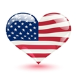 Flag of the United States in the form of heart vector image vector image