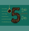 floral card with number five and pocket watch vector image vector image