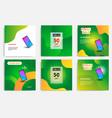 fluid wave social media green color template vector image vector image