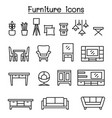 furniture icon set in thin line style vector image vector image