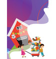 garage sale boy and girl bought toys at spring vector image vector image