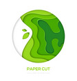grass green abstract layout - paper cut vector image