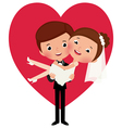 Groom holds his bride in his arms vector image vector image
