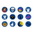 halloween round icons set vector image