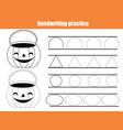 halloween theme handwriting practice sheet early vector image vector image