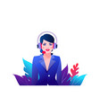 icon consultant assistant girl in headphones vector image