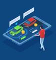 isometric sedan car rent purchase carsharing 3d