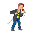 man holding a microphone vector image vector image