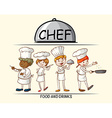 Many chefs cooking food vector image vector image