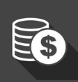 money icon with shadow on black background coins vector image