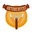 oktoberfest label with a pair of beer bottles icon vector image vector image